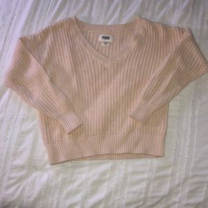 V Neck Cable Knit Sweater - PINK